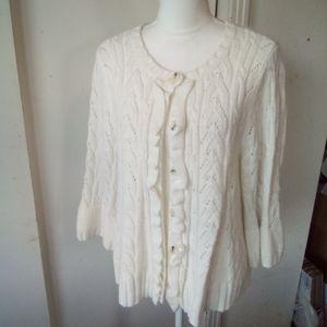 Ashley Judd white cardigan sweater size XL